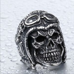 Stainless steel Men's Pilot Skull Ring